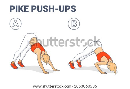 Pike Push-up. Female at Home doing Workout Exercise, Guidance. Colorful Concept of Girl Working on Her Triceps a Young Woman in Sportswear Top, Sneakers, and Leggings Doing Modified Pushup in Two Stages. Stock photo ©