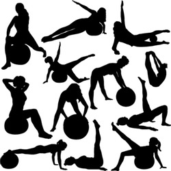 pilates women silhouettes - vector 1
