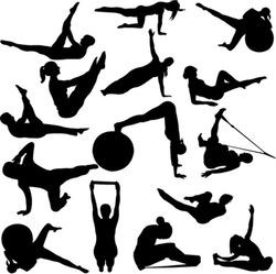 pilates women silhouettes - vector