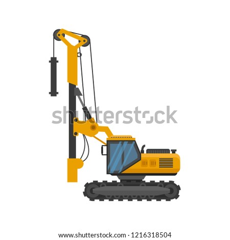 Pile driver icon isolated. Construction equipment isolated vector Stockfoto ©