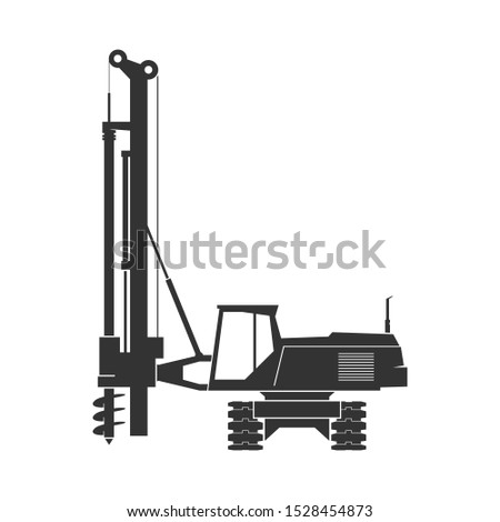 Pile driver isolated on background. Vector illustration Stockfoto ©