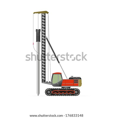 Pile driver isolated on white. EPS 10 opacity. Stockfoto ©
