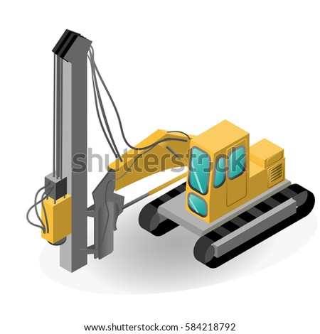 Pile driver isolated on white. Isometric EPS 10 opacity.
