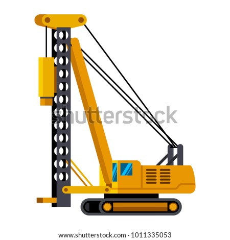Pile driver minimalistic icon isolated. Construction equipment isolated vector. Heavy equipment vehicle. Color icon illustration on white background. Stockfoto ©
