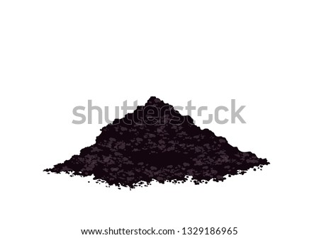Pile heap of soil humus, Potting soil to plant, Heap of earth, heap of soil, Vector illustration isolated on white background
