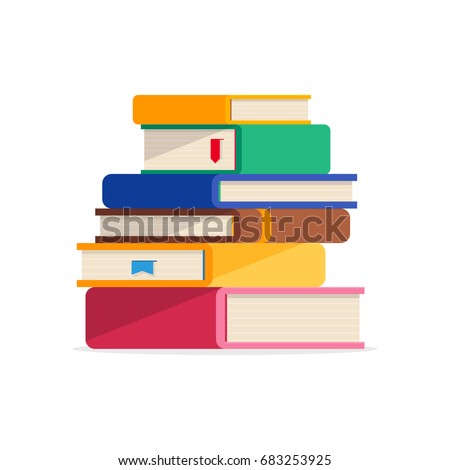 Pile of books in a flat style, isolated on a white background. Stack of books with bookmarks. Concept of learning. Vector illustration.