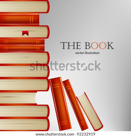 Pile of books in an orange cover on gray background