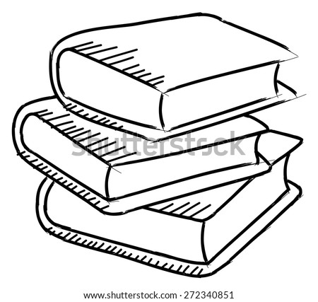 Pile Of Books Sketch Isolated On White Background Stock