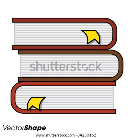 Pile of books with page markers, vector illustration - stock vector