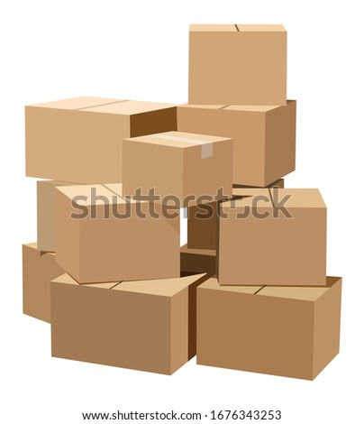 Pile of cardboard boxes on a white background Stock photo ©
