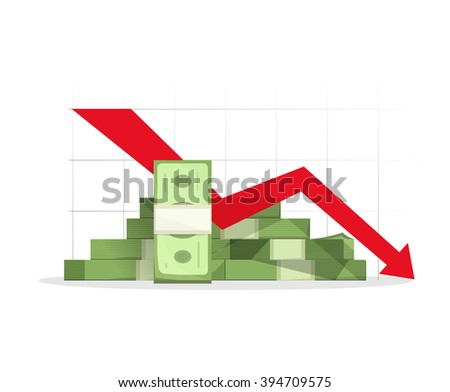 Pile of cash red recession graph with downward arrow vector illustration, concept of business failure, financial depression diagram, reaching down, analytics, bad report symbol, isolated on white sign