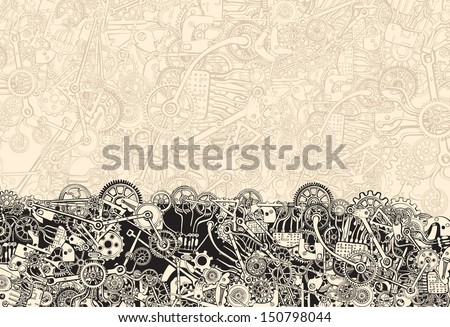 Pile of Cogs. Background texture. Hand drawing.