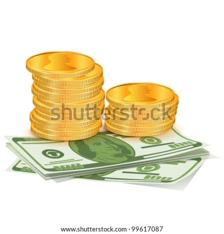 Pile of coins with dollars. Vector illustration