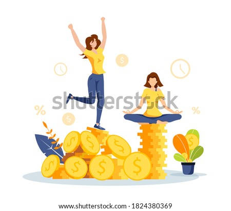 Pile of coins, women and money plant. Profit, income, budget, prosperity, financial success, savings concept. Isolated vector illustration for banner, poster, advertising. Foto stock ©