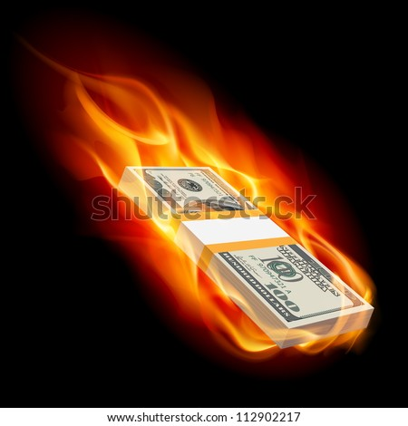 Pile of Dollars on Fire. Illustration on black