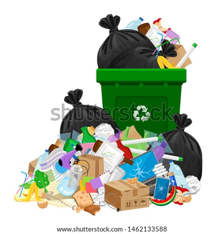 pile of garbage waste and bag plastic at green recycle bin isolated on white, plastic garbage waste many, plastic waste dump and bin green, illustration stack plastic waste and bin separation recycle