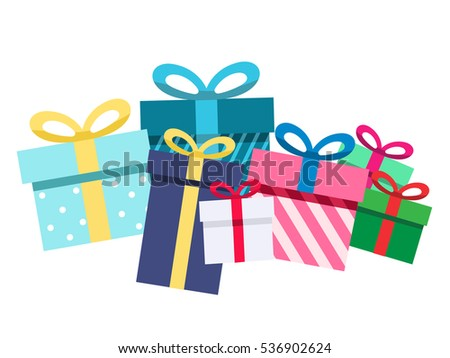 Pile of gift boxes, Presents isolated on white. Colorful wrapped. Sale, shopping concept. Vector Cartoon flat design