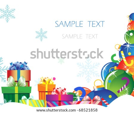 Pile of gifts and Christmas decorations on a white background
