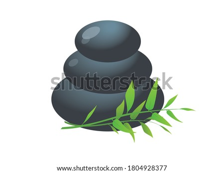 Pile of hot stones for spa procedures icon vector. Massage stones with bamboo vector. Lava stones isolated on a white background. Pile of massage pebbles vector. Stacked zen stones stack vector