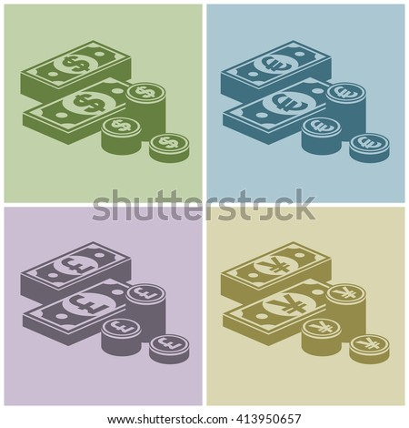 pile of money stack icon for