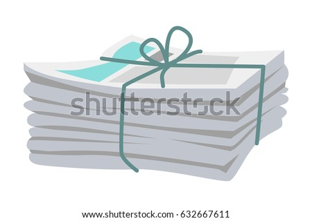Pile of newspapers with media information isolated bound with string on white. Vector illustration of paper tabloid journals gathered in heap and bound with blue type and bow in flat design.