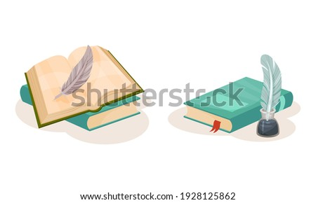 Pile of Old Books in Hard Cover with Quill for Writing Vector Set Сток-фото ©
