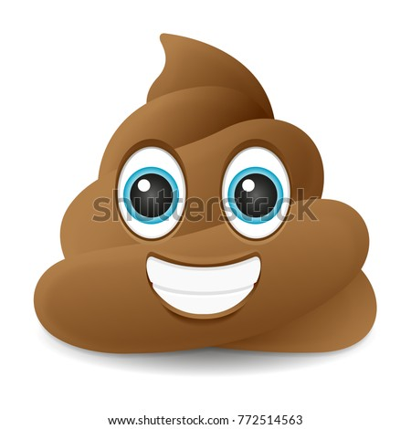 Pile of Poo Smile Emoji Icon Object Symbol Gradient Vector Art Design Cartoon Isolated Background