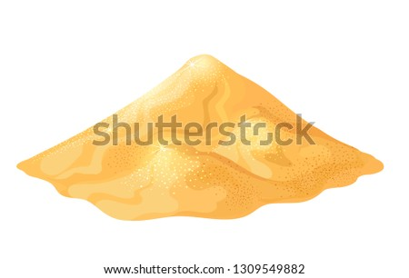 Pile of sand. Gold sand heap colored vector isolated on white, golden mound for games