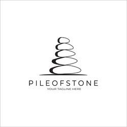 Pile of Stone logo vector design vintage illustration, balance stone concept, business spa