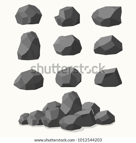 pile of  stones  graphite coal