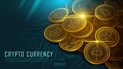 Pile of ten famous cryptocurrency coins artwork on circuit board with texts , Vector illustrator