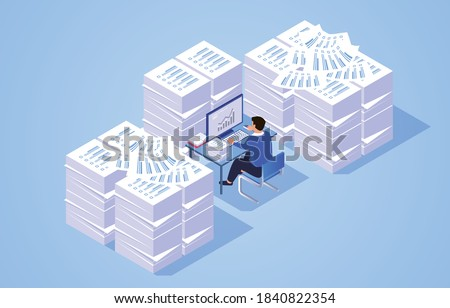 Pile of work documents piled up around busy working businessman Stock photo ©