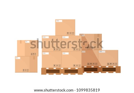 Pile or stack of cardboard or carton boxes on wooden pallet isolated on white background. Goods packaged for warehouse storage, cargo shipping or delivery. Flat cartoon colorful vector illustration