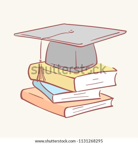 Pile stack graduation academic cap books hand drawn style vector doodle design illustration