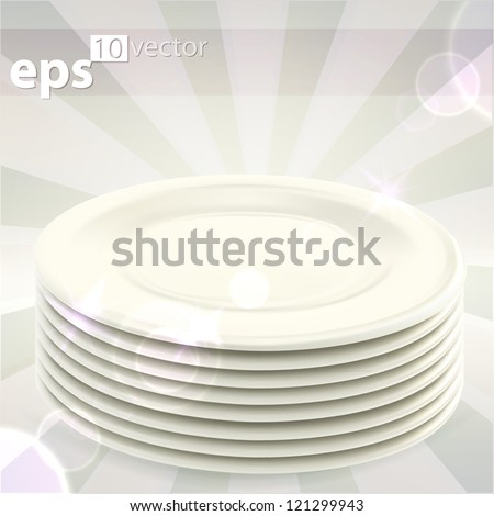 Pile stack of clean white ceramic empty copyspace food dishes, eps10 vector