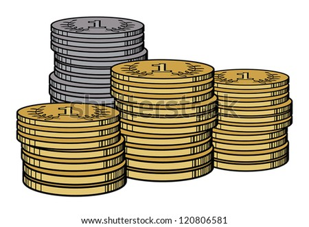 Piles of golden and silver coins, vector illustration
