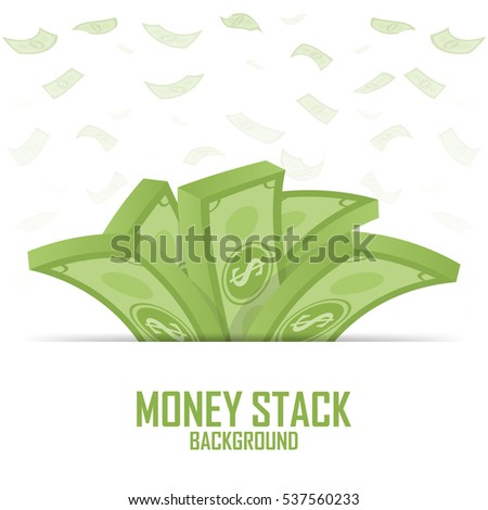 Piles of money stack, cash dollar on white, vector illustration.