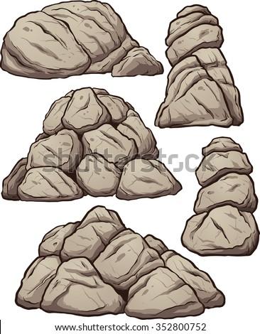 piles of rocks vector clip art