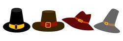 Pilgrim hat icon, flat style. Thanksgiving headdress. Isolated on white background. Vector illustration