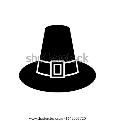 Pilgrim hat icon, vector illustration. Flat design style. Vector pilgrim hat icon illustration isolated on white background, pilgrim hat icon Eps10. pilgrim hat icons graphic design vector symbols.