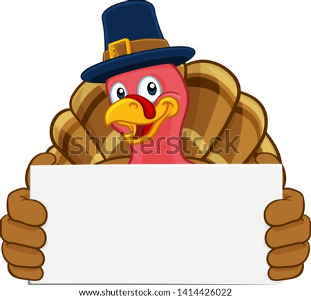 Pilgrim Turkey Thanksgiving bird animal cartoon character wearing a pilgrims hat. Holding a white background sign.