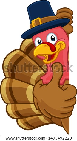 Pilgrim Turkey Thanksgiving bird animal cartoon character wearing a pilgrims hat. Peeking around a background sign and giving a thumbs up