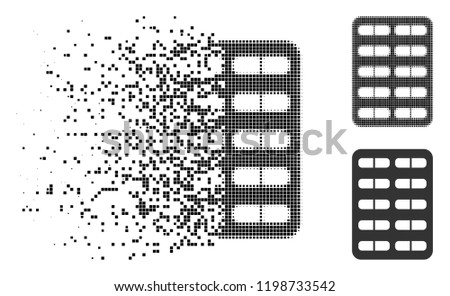 pill blister icon in dispersed