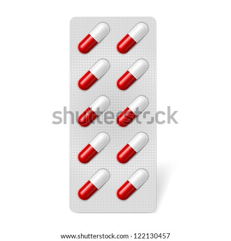 Pill blister with gel capsules. Illustration on white