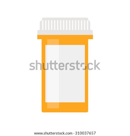 Pill bottle isolated icon on white background. Pill bottle for capsules. Medical container. Flat style vector illustration.