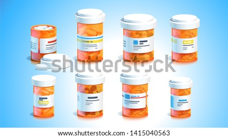 Pill bottles. Open plastic pills tube with cap. Some meds capsules lying down. Drug medication, supplements & medicament. Realistic flat style vector medicine object illustration