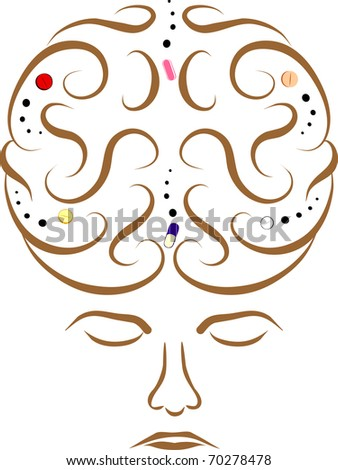 Pill Brain:  a head/ brain with medication pills inside.