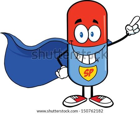 pill capsule super hero cartoon