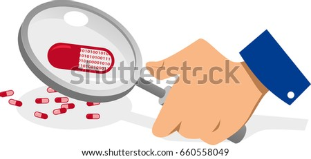 Pill filled with computer code under a magnifying glass, EPS 8 vector illustration