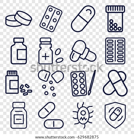 Pill icons set. set of 16 pill outline icons such as paints, tablet, pill, medical bottle, medicine, medical pills, medicine bottle, health insurance, virus and pills